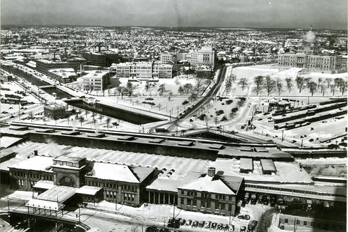 Air view of Providence taken above Union Station looking northwest