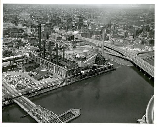 Aerial view of Point St. bridge and Davol, Inc