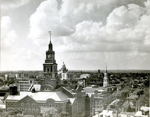 Providence skyline from belfry of First Congregational Church, Benefit St, Providence