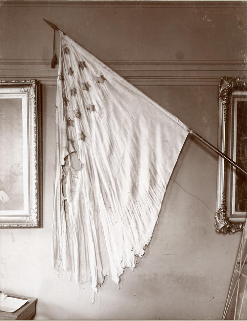 R.I Battle Flag of Civil War - Mounted on wall of old State House