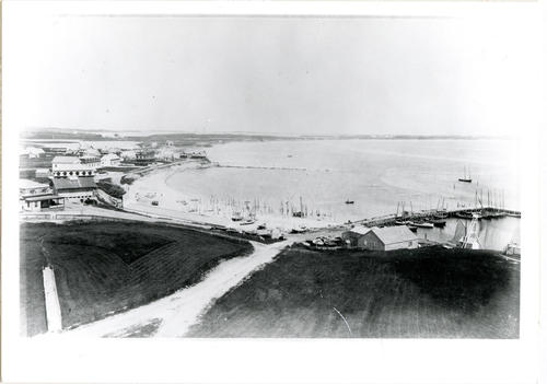 Aerial view of the beach area, Block Island