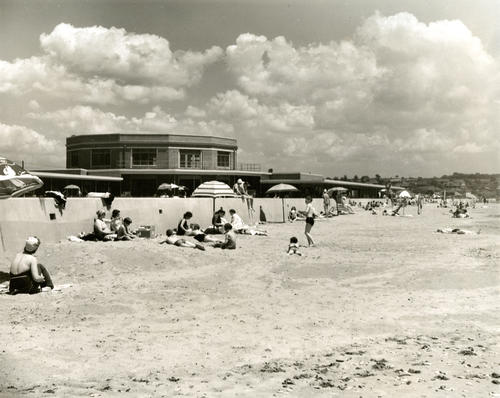 Bathers at Easton's beach area