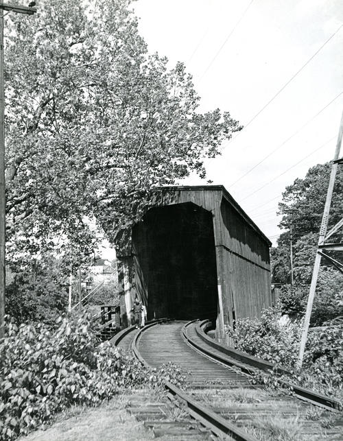 Covered railroad bridge