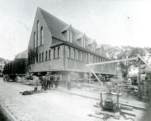 Emmanuel Church Gymnasium Being Moved, Newport