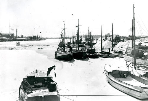 Winter of 1934 Newport Harbor from Long Wharf