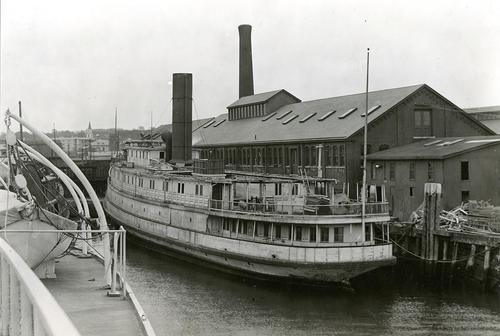 Naugatuck (Steamer) Being Dismantled for use as Freight Boat in Connecticut