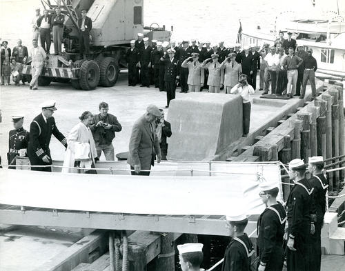 President and Mrs. Dwight D. Eisenhower boarding ship