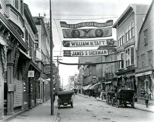 Thames Street at Mary Street, Newport; Banner for Republican Nominees