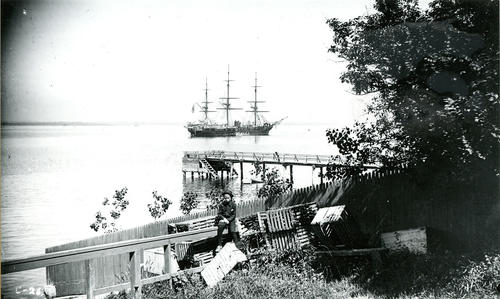 Washington Street, Newport; U.S. Man of War in Harbor