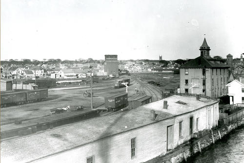 Freight yard, From Bow of Steamer, Newport