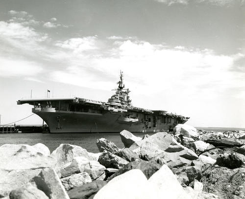 U.S. Naval Air Station, Quonset Point; USS Leyte (CV-32) Tied to Dock