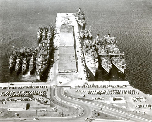 Aerial view of destroyer Pier Number Two
