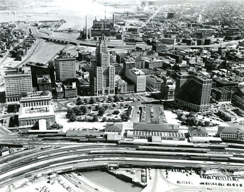 Aerial View of City of Providence Looking Toward Providence Harbor