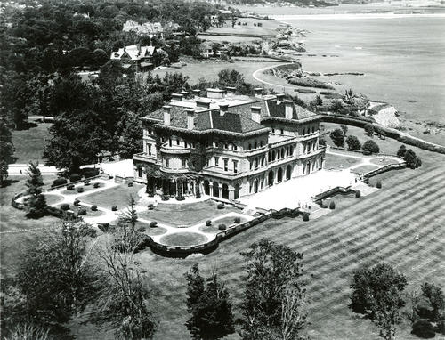 Aerial View of the 70 Room Mansion Built in 1893-1895, The Breakers, Newport