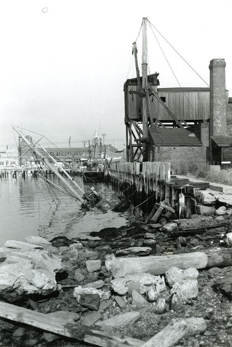 "Long Wharf from Government Landing - Sullivan's Coal Yard - Wreck of Dragger ""Leonora"""