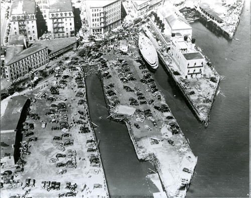 Aftermath of 1938 hurricane at Providence dock