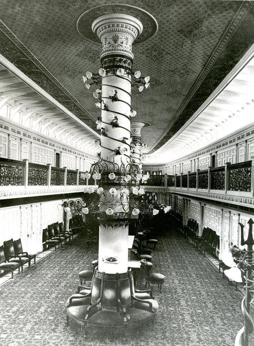 SS Puritan, Main Salon Looking aft from Stair Landing.