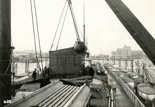 Priscilla (Steamer), From Top of Pilot House, Showing Broiler Being Lowered.