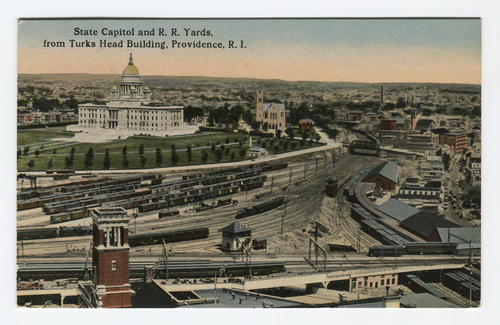 View of Union Station freight yard and State House, Providence