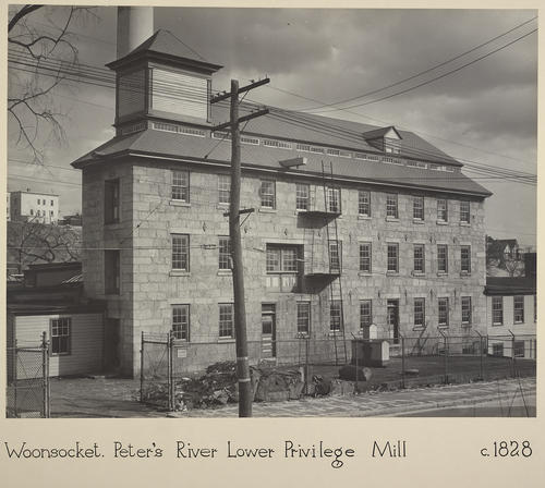 Woonsocket. Peter's River Lower Privilege Mill c. 1828