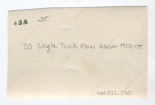 20 single truck plow, Wason