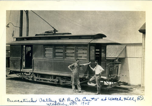 Pawcatuck Valley St Ry Co Car #5 at Watch Hill, RI, Westerly 1908
