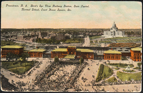 Providence, R.I. Birds eye view Railway Station, State Capitol, Normal School, Court House Square, Etc.