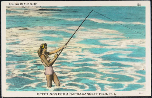 Fishing in the surf, Greetings from Narragansett Pier, R.I.