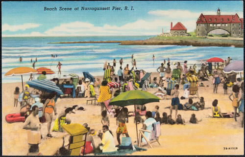 Beach scene at Narragansett Pier, R.I.