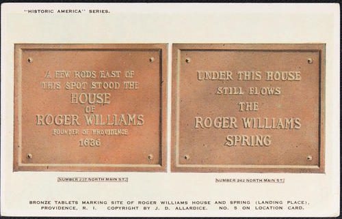 Bronze tablets marking site of Roger Williams House and Spring (landing place), Providence, RI