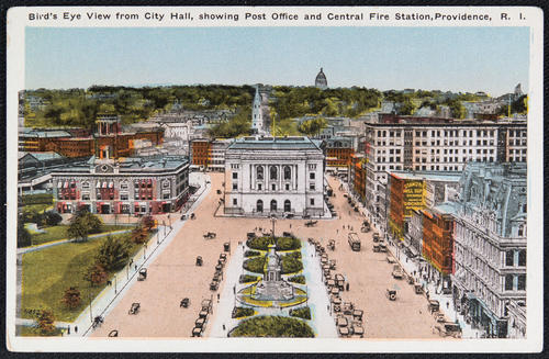 Bird's Eye View from City Hall showing Post Office and Central Fire Station, Providence, R.I.