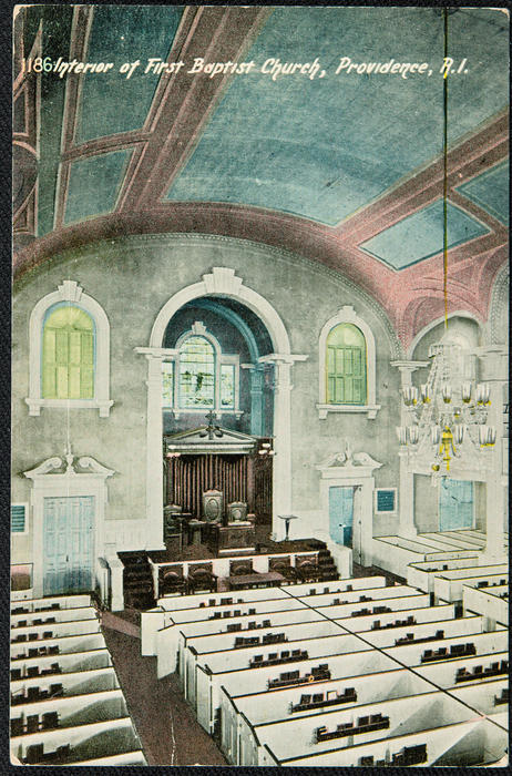 Interior of First Baptist Church, Providence, R.I.