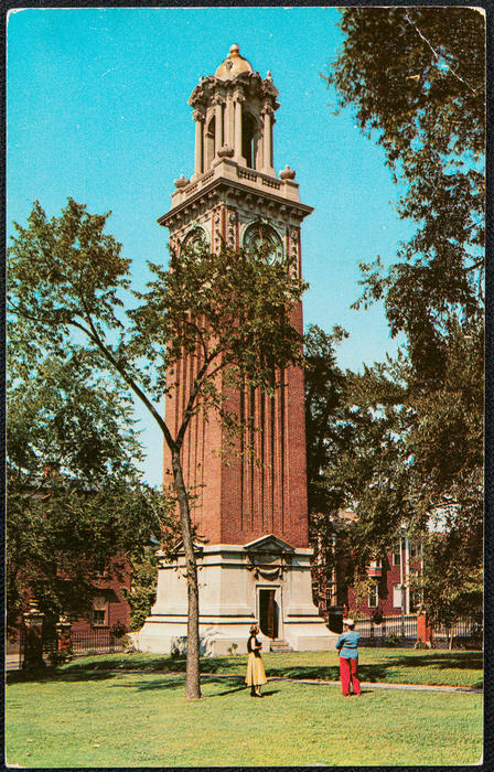 A campanile clock tower, known to all as the Carrie Tower, located on the Brown University Campus on College Hill, Providence, R.I.