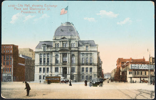 City Hall showing Exchange Place and Washington St. Providence, R.I.