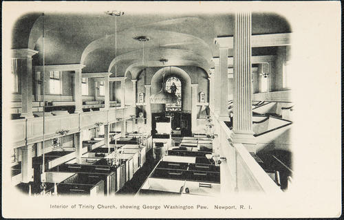 Interior of Trinity Church, showing George Washington pew. Newport, R.I.