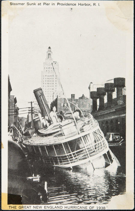 Steamer Sunk at Pier in Providence Harbor, R.I. The Great New England Hurrican of 1938