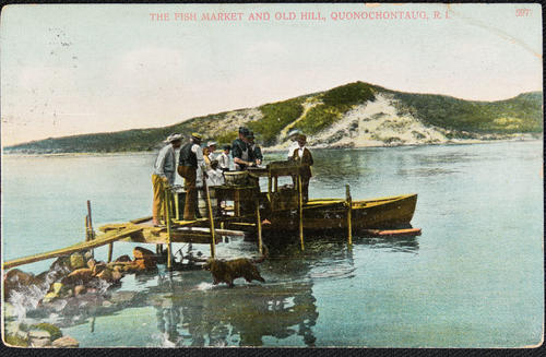 The fish market and Old Hill. Quonochontaug, R.I.