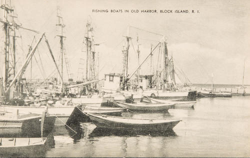 Fishing boats in Old Harbor, Block Island, R.I.