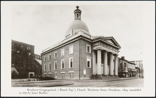 "Beneficient Congregational ""Round Top"" Church, Weybosset Street, Providence, 1809, remodelled in 1836 by James Bucklin."