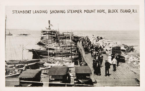 Steamboat landing showing Steamer Mount Hope, Block Island, R.I.
