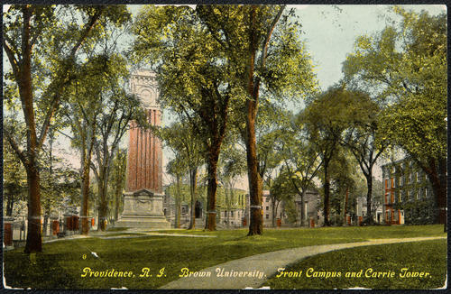 Providence, R.I. Brown University. Front Campus and Carrie Tower.