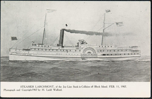 Steamer Larchmont of the Joy Line sunk in collision off Block Island. Feb. 11, 1907.