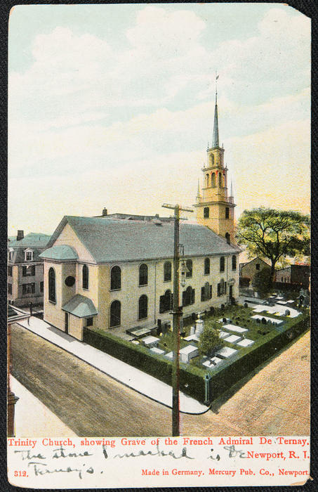 Trinity Church showing grave of the French Admiral De Ternay, Newport, R.I>