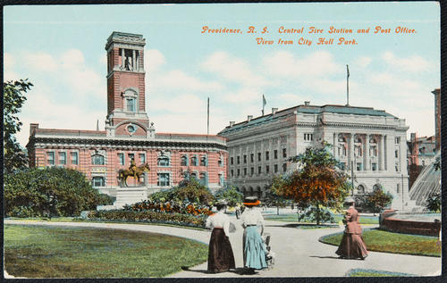 Providence, R.I. Central Fire Station and Post Office, view from City Hall Park