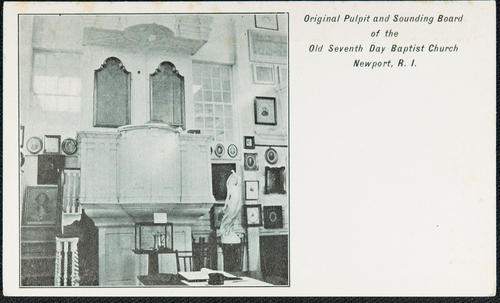 Original pulpit and sounding board of the Old Seventh Day Baptist Church Newport R.I.