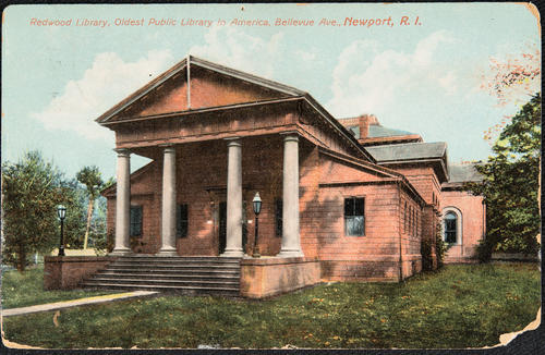 Redwood Library, oldest public library in America, Bellevue Ave, Newport, R.I.