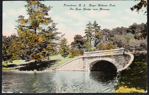 Providence, R.I. Roger Williams Park. The Stone Bridge near Museum.