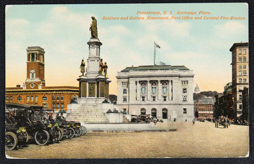Providence, R.I. Exchange Place, Soldiers and Sailors Monument, Post Office and Central Fire Station.