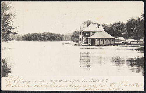 Boat House and lake, Roger Williams Park, Providence, R.I.