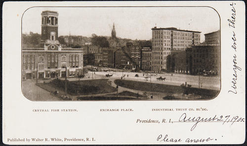 Central Fire Station, Exchange Place, Industrial Trust Co. Bldg. Providence, R.I.